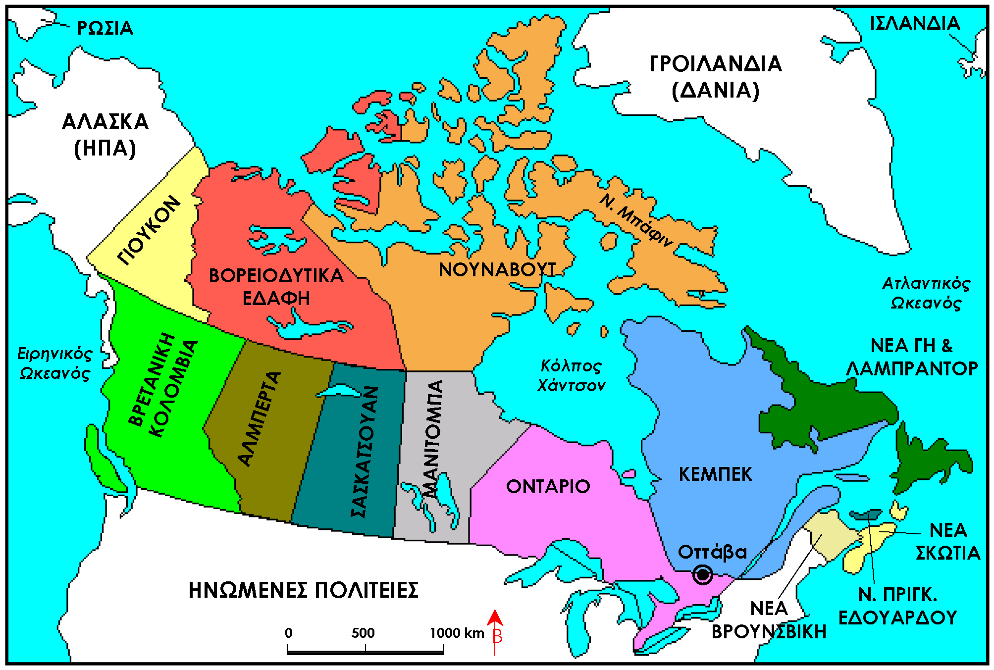 provinces of canada map  White