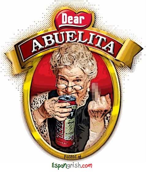 Abuelita Tomando Tecate Funny Mexican Grandma Drinking Beer