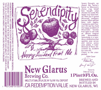 New-Glarus-Serendipity-Ale-label