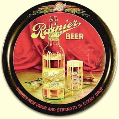 Rainier Beer tray cigar n glass