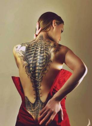 Back Skeleton Tattoo on girl