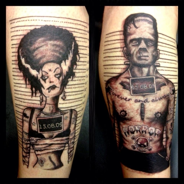 Cool-Frankenstein-and-Bride-tattoo