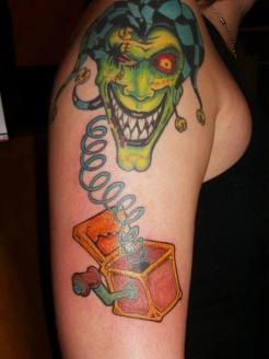 evil-clown-box-tattoo-design