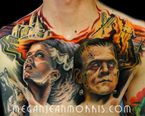 frankenstein_and_bride_chest_tattoo_megan_jean_morris_LG96
