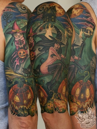Halloween-tattoo-witch