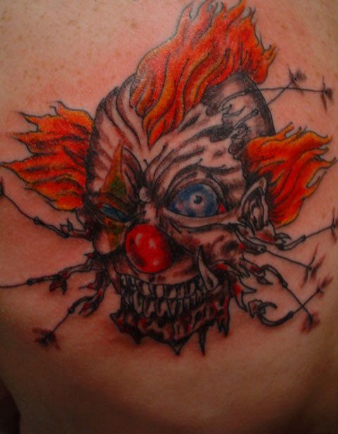 insane Evil Clown Tattoos Designs