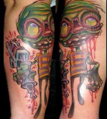 itattooz-zombie-pic-tattoo-on-leg