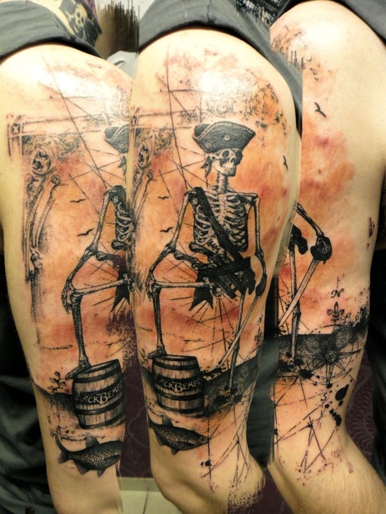 pirate skeleton tattoo by xoil loic inky beer. Black Bedroom Furniture Sets. Home Design Ideas