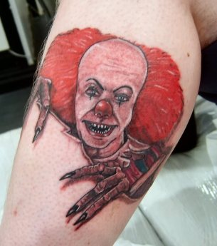 red-ink-evil-clown-tattoos