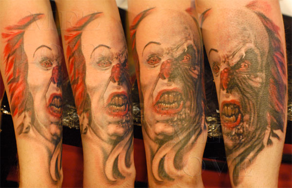 scary clown tattoo designs inky beer. Black Bedroom Furniture Sets. Home Design Ideas