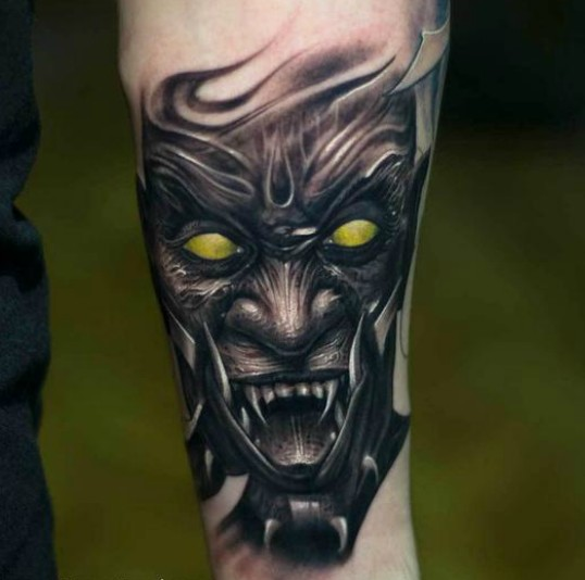Victor-Portugal-Black-And-Gray-Demon-Tattoo-With-Color