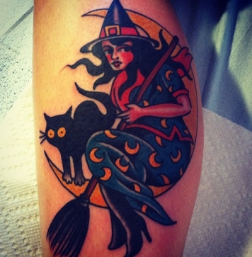 witch-with-a-cat-on-the-moon-traditional-tattoo-699