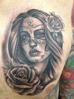 Black-and-grey-skull-sugar-girl-by-Matthew-J-Hockaday