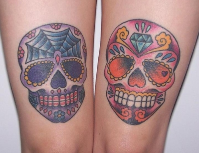 cute-day-of-the-dead-tattoos-sugar-skulls-paisley-decorated-death-human-skeleton-colorful