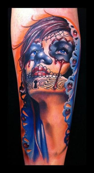 day-of-the-dead-color-portrait tattoo-brent-olson-art-junkies-tattoo