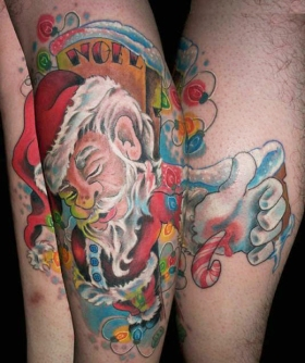 Santa-Claus-Tattoo-Trend-on-Legs-and-Arm