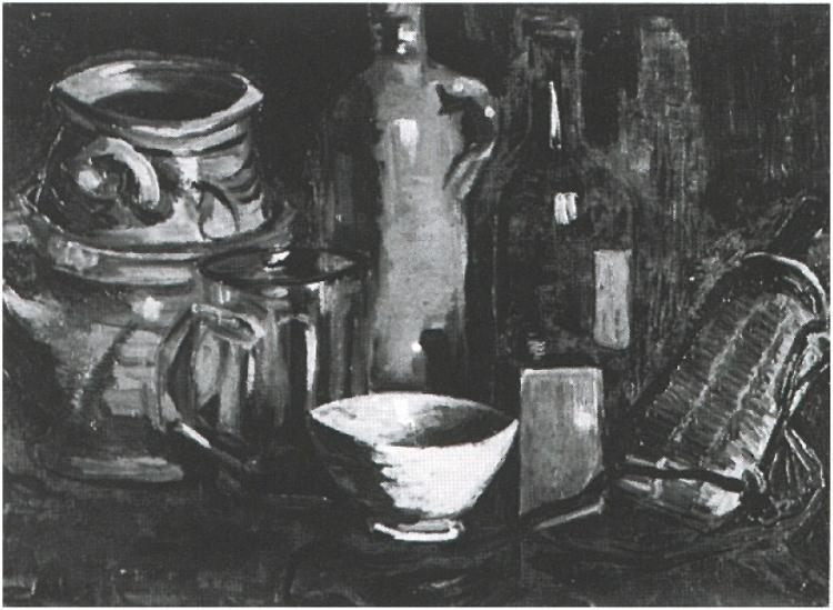 Still-Life-with-Pottery,-Beer-Glass-and-Bottle