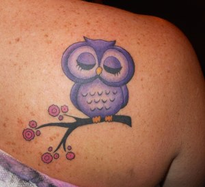 Pretty-Purple-Owl-Tattoo