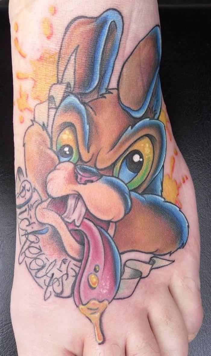 New School Tattoo: 410456-great-tattoos-new-school-grag-rabbit-foot-tattoo