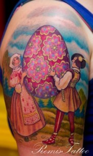 color tattoo of czech easter egg
