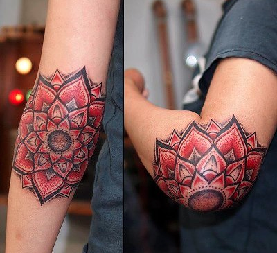 Red Mandala Flowers Elbow Tattoos Inky Beer