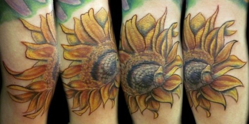 sun_flower_color_elbow_tattoo_now_chloe_vanessa